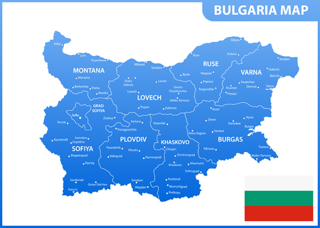 The detailed map of Bulgaria with regions or states and cities, capital. Administrative division Illustration