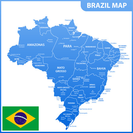 The detailed map of the Brazil with regions or states and cities, capitals, national flag
