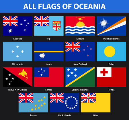 Set of all flags of the countries of Oceania. Flat style Banque d'images - 102774175