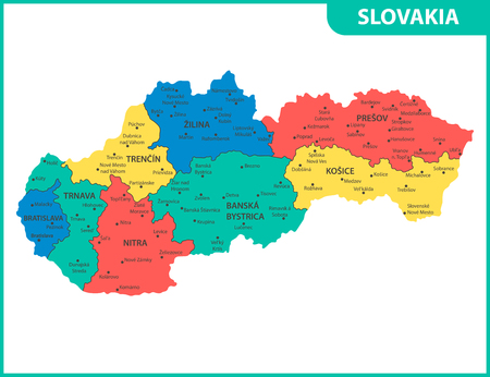 The detailed map of Slovakia with regions or states and cities, capitals. Administrative division