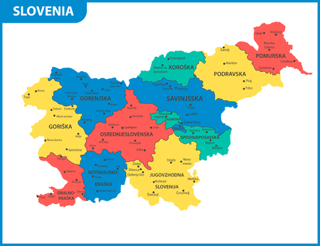 The detailed map of Slovenia with regions or states and cities, capitals. Administrative division Stock Vector - 102232855