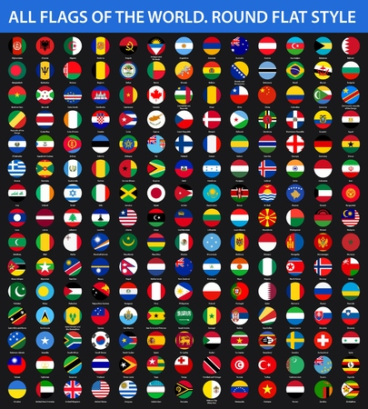 All flags of the world in alphabetical order. Round flat style