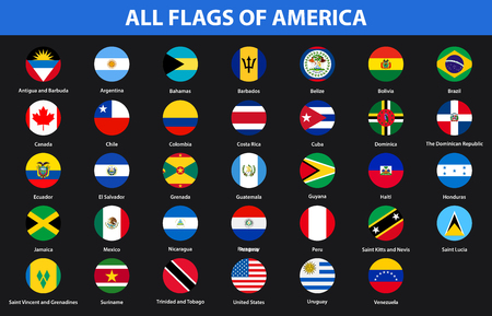 Flags of all countries of American continents. Flat style Illustration