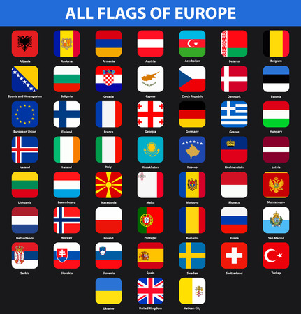 Flags of all countries of Europe. Flat style Illustration
