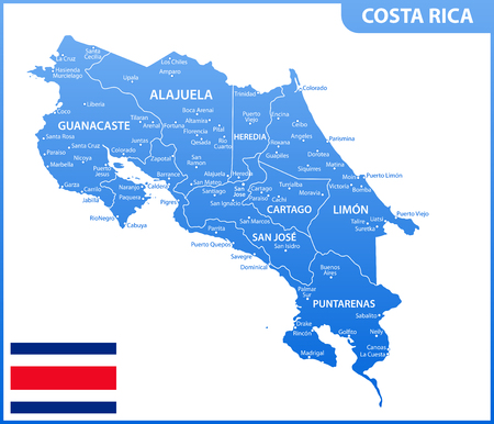 The detailed map of Costa Rica with regions or states and cities, capital. Administrative division