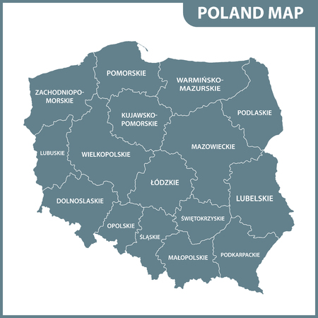 The detailed map of Poland with regions or states Standard-Bild - 102156385