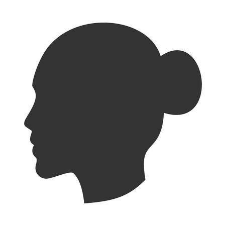 Siluetta della testa femminile, volto di donna di profilo, vista laterale