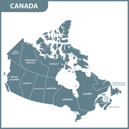 The detailed map of the Canada with regions or states Illustration