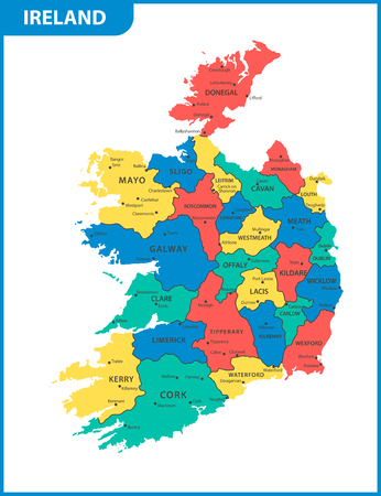 The detailed map of the Ireland with regions or states and cities, capitals Vectores