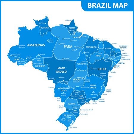 The detailed map of the Brazil with regions or states and cities, capitals