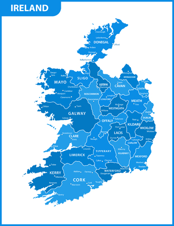 The detailed map of the Ireland with regions or states and cities, capitals Illustration