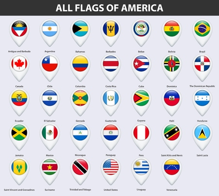 All flags of the countries of America. Pin map pointer glossy style. Stock Illustratie