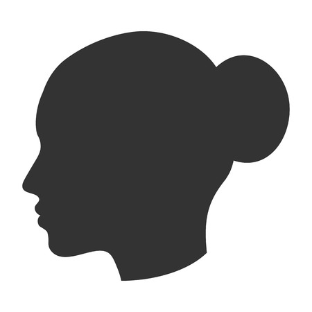 Silhouette of female head, woman face in profile, side view Ilustrace