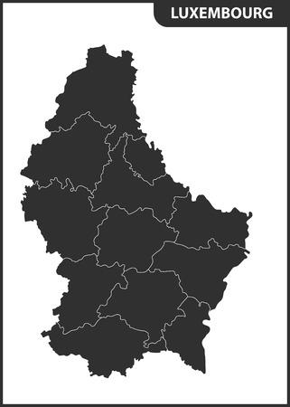 De gedetailleerde kaart van Luxemburg met regio's of staten