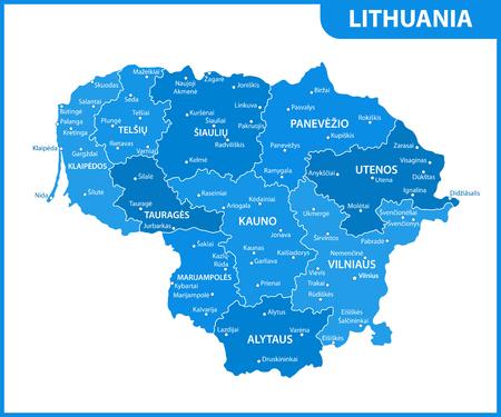 El mapa detallado de Lituania con regiones o estados y ciudades, capital. División administrativa