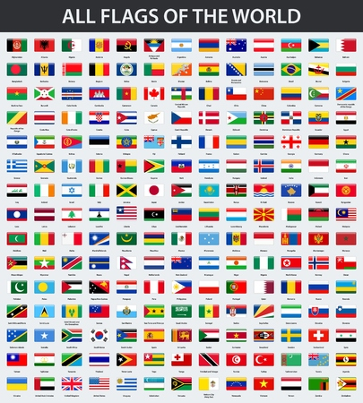 All flags of the world in alphabetical order. Rectangle glossy style Stock Illustratie