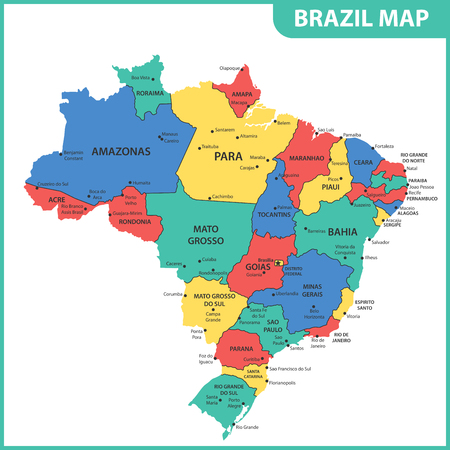 The detailed map of the Brazil with regions or states and cities, capitals Reklamní fotografie - 102146306