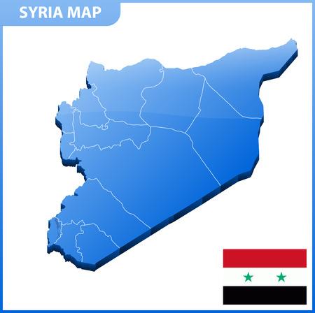 Mapa tridimensional muy detallado de Siria. División administrativa. Ilustración de vector