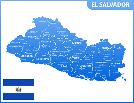 The detailed map of El Salvador with regions or states and cities, capital. Administrative division. Vetores