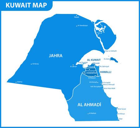 Szczegółowa mapa Kuwejtu z regionami lub stanami i miastami, stolicą. Podział administracyjny.