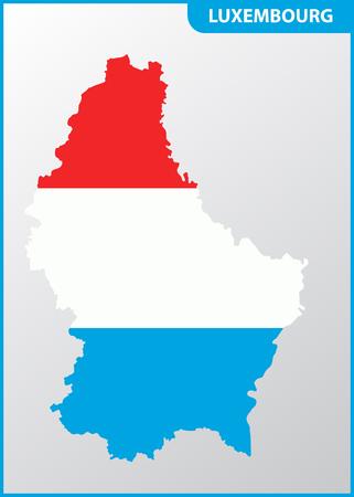 El mapa detallado de Luxemburgo con la bandera nacional