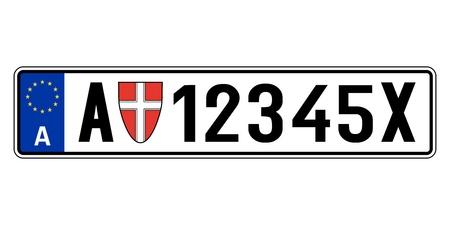Autoplaatje Oostenrijk. Voertuig registratie nummer