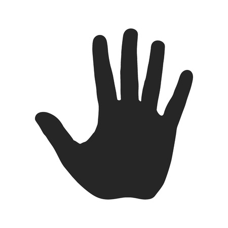 Human hand silhouette. Open palm with five fingers. Stop sign. Warning symbol, hazardous icon