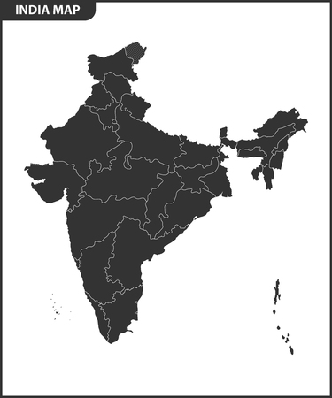 The detailed map of the India with regions or states. Administrative division. Illustration