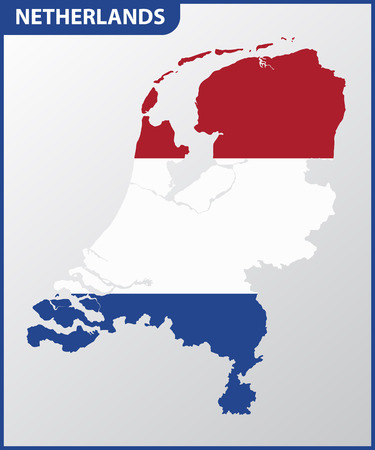 The detailed map of Netherlands with National Flag