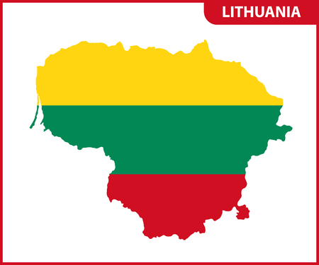 The detailed map of Lithuania with National Flag