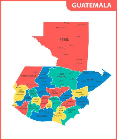 El mapa detallado de Guatemala con regiones o estados y ciudades, capital. División administrativa.