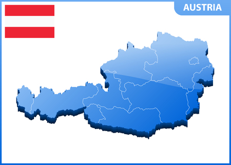 Highly detailed three dimensional map of Austria with regions border Иллюстрация