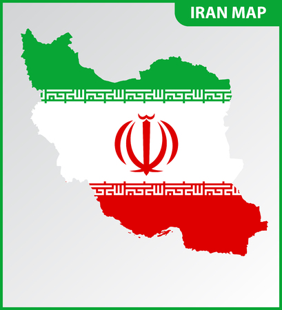 The detailed map of Iran with National Flag
