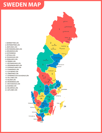 The detailed map of Sweden with regions or states and cities, capital. Administrative division.