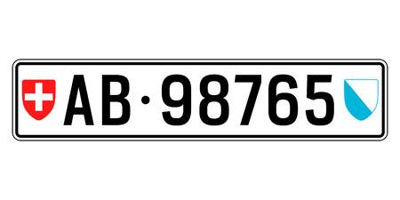 Switzerland car plate. Vehicle registration number Vetores