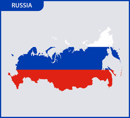 The detailed map of Russia. Russian Federation with National Flag
