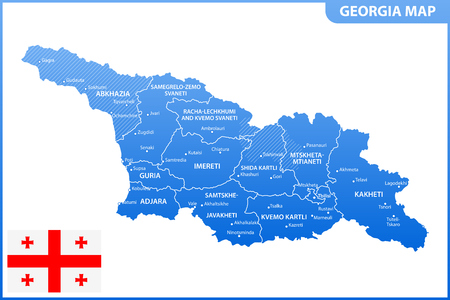 The detailed map of the Georgia with regions or states and cities, capital. Administrative division. South Ossetia and Abkhazia are marked as a disputed territory