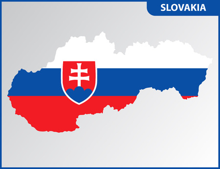 The detailed map of Slovakia with National Flag Векторная Иллюстрация