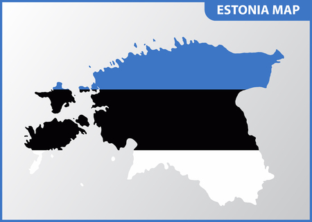 The detailed map of Estonia with National Flag