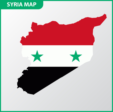 The detailed map of Syria with National Flag