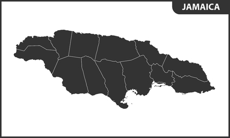 The detailed map of Jamaica with regions or states. Administrative division.