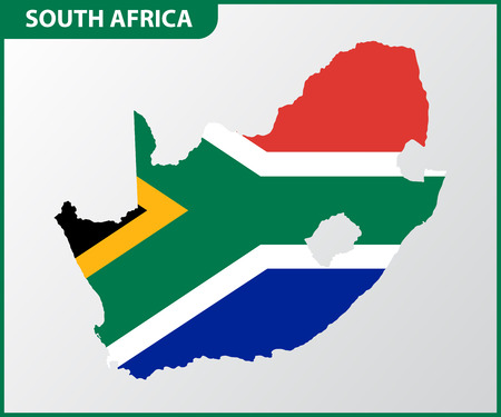 The detailed map of South Africa with National Flag Illustration