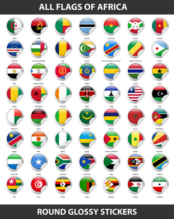 Flags of all countries of Africa. Round Glossy Stickers Illustration