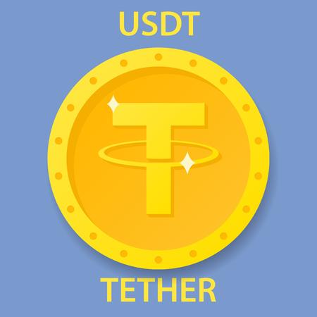 Tether cryptocurrency blockchain icon. Virtual electronic, internet money or cryptocoin symbol, logo