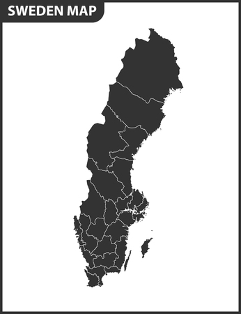 The detailed map of Sweden with regions or states. Administrative division. Illustration