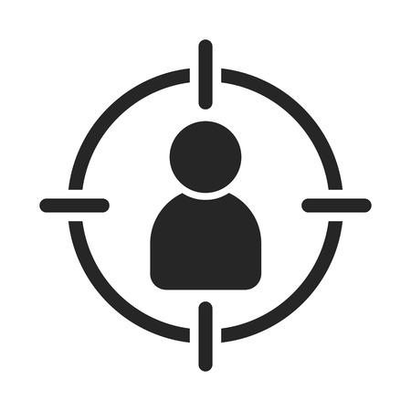 Público objetivo. Cliente, orientación al cliente. Centrado en el consumidor. Apuntar signo humano Ilustración de vector