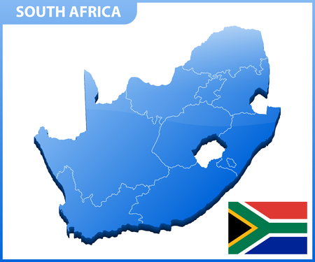 Highly detailed three dimensional map of South Africa. Administrative division. Illustration