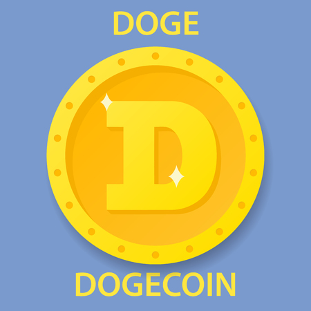 Dogecoin cryptocurrency blockchain icon. Virtual electronic, internet money or cryptocoin symbol, logo Illustration