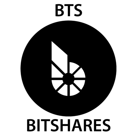 Bitshares Coin cryptocurrency blockchain icon. Virtual electronic, internet money or cryptocoin symbol, logo