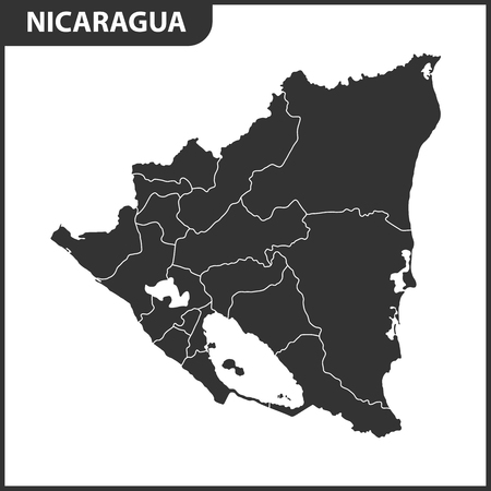 The detailed map of Nicaragua with regions. Administrative division.